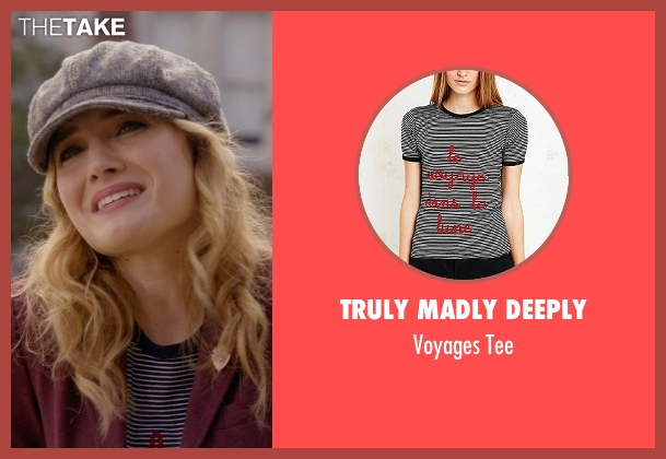 Truly Madly Deeply black tee from Scream Queens seen with Grace Gardner (Skyler Samuels)