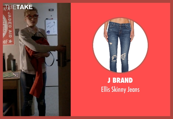J Brand blue jeans from Scream Queens seen with Grace Gardner (Skyler Samuels)