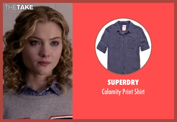 Superdry blue shirt from Scream Queens seen with Grace Gardner (Skyler Samuels)