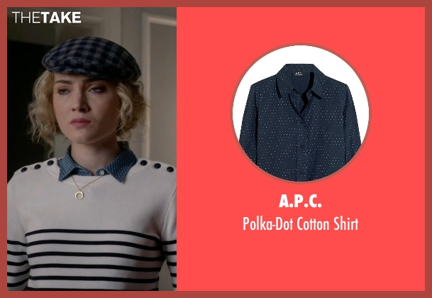 A.P.C. blue shirt from Scream Queens seen with Grace Gardner (Skyler Samuels)