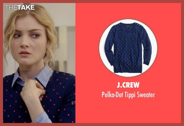 J.Crew blue sweater from Scream Queens seen with Grace Gardner (Skyler Samuels)