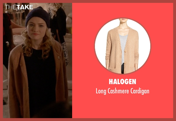 Halogen brown cardigan from Scream Queens seen with Grace Gardner (Skyler Samuels)