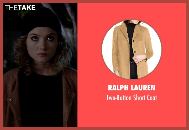 Ralph Lauren brown coat from Scream Queens seen with Grace Gardner (Skyler Samuels)