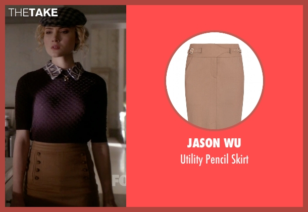 Jason Wu  brown skirt from Scream Queens seen with Grace Gardner (Skyler Samuels)