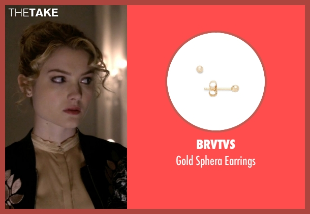 BRVTVS gold earrings from Scream Queens seen with Grace Gardner (Skyler Samuels)