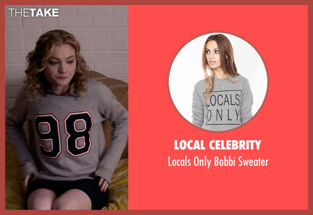 Local Celebrity gray sweater from Scream Queens seen with Grace Gardner (Skyler Samuels)
