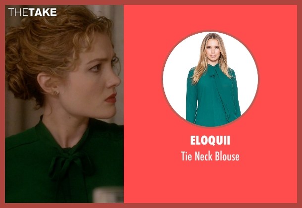 Eloquii green blouse from Scream Queens seen with Grace Gardner (Skyler Samuels)