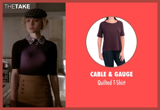Cable & Gauge purple t-shirt from Scream Queens seen with Grace Gardner (Skyler Samuels)