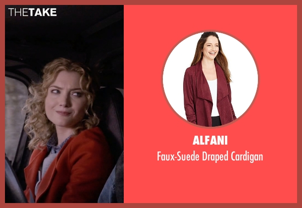 Alfani red cardigan from Scream Queens seen with Grace Gardner (Skyler Samuels)