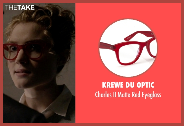 Krewe du Optic red eyeglass from Scream Queens seen with Grace Gardner (Skyler Samuels)