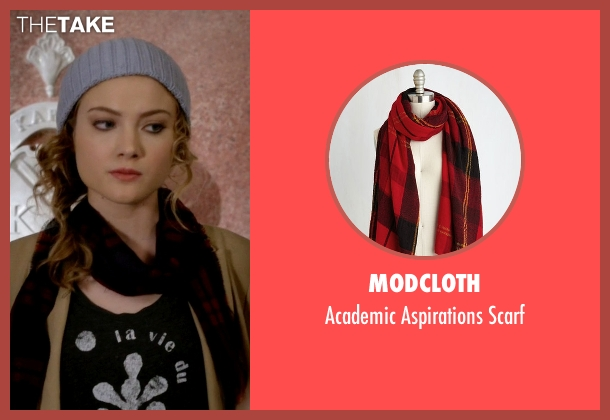 ModCloth red scarf from Scream Queens seen with Grace Gardner (Skyler Samuels)
