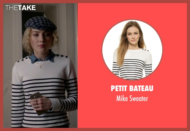 Petit Bateau white sweater from Scream Queens seen with Grace Gardner (Skyler Samuels)