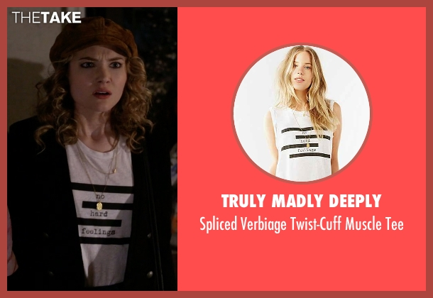 Truly Madly Deeply white tee from Scream Queens seen with Grace Gardner (Skyler Samuels)