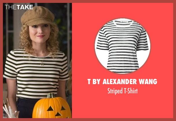 T by Alexander Wang white t-shirt from Scream Queens seen with Grace Gardner (Skyler Samuels)