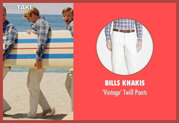 Bills Khakis white pants from Love & Mercy seen with Graham Rogers (Al Jardine)