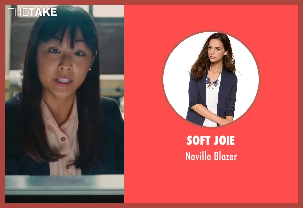Soft Joie blue blazer from St. Vincent seen with Greta Lee (Teller #23)