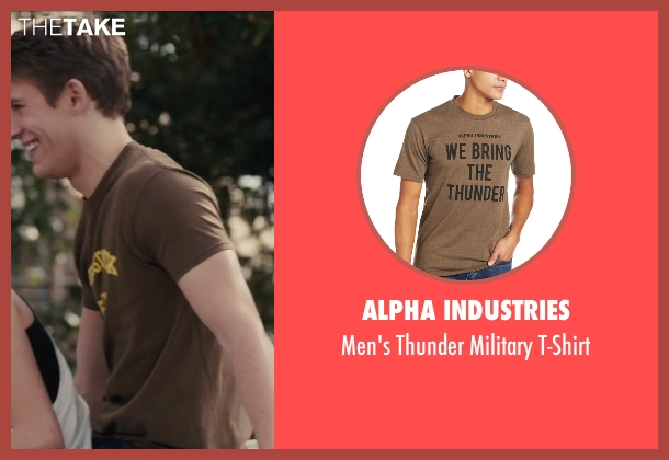 Alpha Industries brown t-shirt from Paper Towns seen with Griffin Freeman (Jase)
