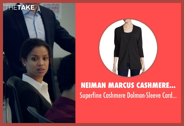 Neiman Marcus Cashmere Collection black cardigan from Miss Sloane seen with Gugu Mbatha-Raw (Esme Manucharian)