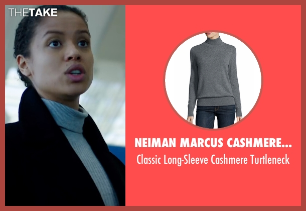 Neiman Marcus Cashmere Collection gray turtleneck from Miss Sloane seen with Gugu Mbatha-Raw (Esme Manucharian)