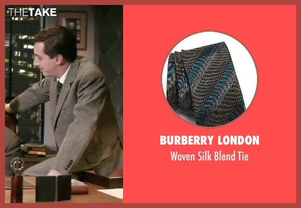 Burberry London brown tie from Yves Saint Laurent seen with Guillaume Gallienne (Pierre Bergé)