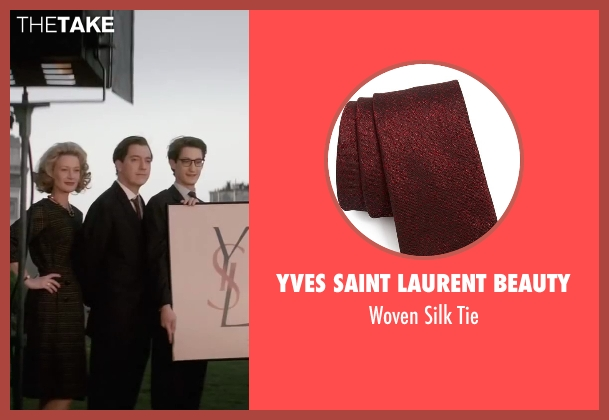 Yves Saint Laurent Beauty red tie from Yves Saint Laurent seen with Guillaume Gallienne (Pierre Bergé)