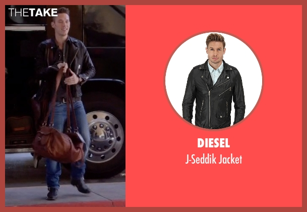 Diesel black jacket from Nashville seen with Gunnar Scott  (Sam Palladio)