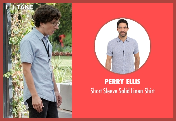 Perry Ellis blue shirt from Love seen with Gus Cruikshank (Paul Rust)