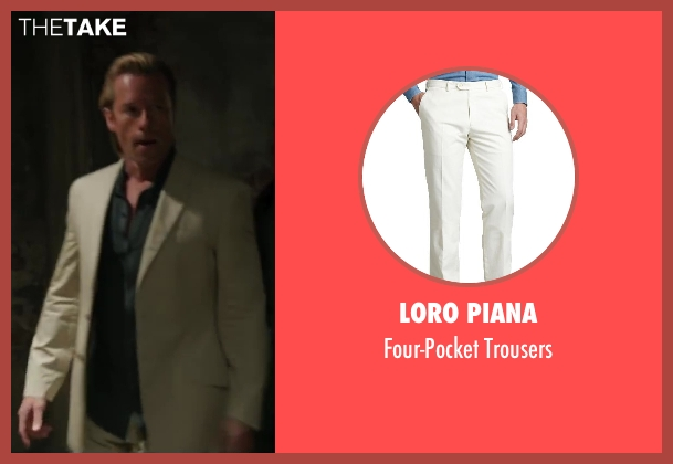 Loro Piana white trousers from Iron Man 3 seen with Guy Pearce (Aldrich Killian)