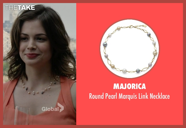 Majorica gold necklace from The Blacklist seen with Gwen Hollander (Conor Leslie)