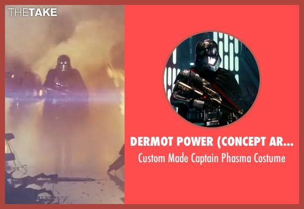 Dermot Power (Concept Artist) costume from Star Wars: The Last Jedi seen with Gwendoline Christie (Captain Phasma)