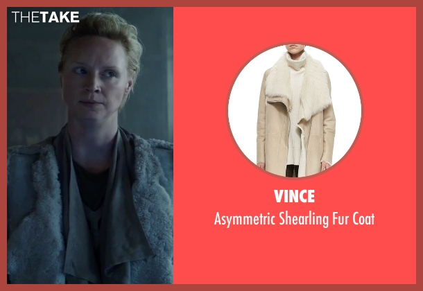 Vince white coat from The Hunger Games: Mockingjay - Part 2 seen with Gwendoline Christie (Commander Lyme)