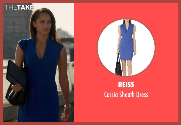 Reiss blue dress from Guilt seen with Gwendolyn Hall (Naomi Ryan)