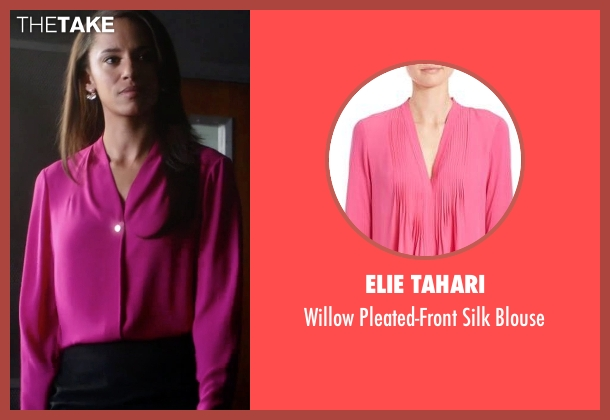 Elie Tahari pink blouse from Guilt seen with Gwendolyn Hall (Naomi Ryan)