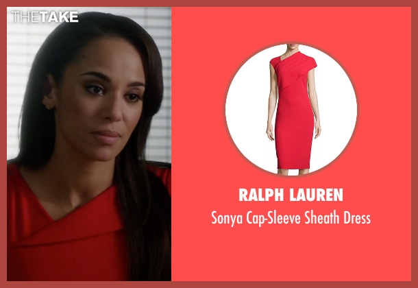 Ralph Lauren red dress from Guilt seen with Gwendolyn Hall (Naomi Ryan)