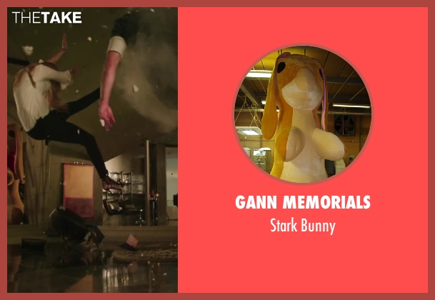 Gann Memorials bunny from Iron Man 3 seen with Gwyneth Paltrow (Pepper Potts)