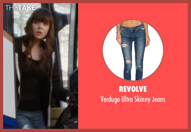 Revolve blue jeans from Barely Lethal seen with Hailee Steinfeld (Megan Walsh)