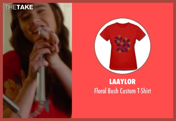 Laaylor red t-shirt from Barely Lethal seen with Hailee Steinfeld (Megan Walsh)
