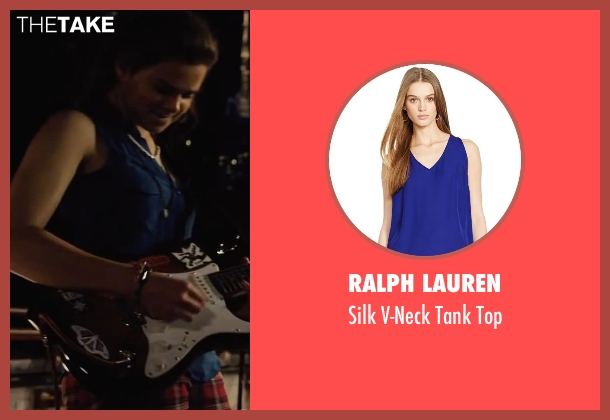 Ralph Lauren blue top from Begin Again seen with Hailee Steinfeld (Violet)