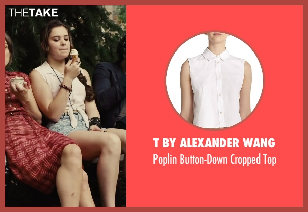 T by Alexander Wang white top from Begin Again seen with Hailee Steinfeld (Violet)