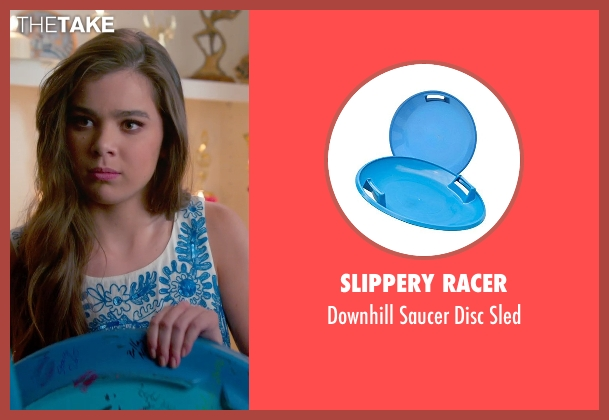 Slippery Racer blue sled from Pitch Perfect 2 seen with Hailee Steinfeld (Emily Hobbs)