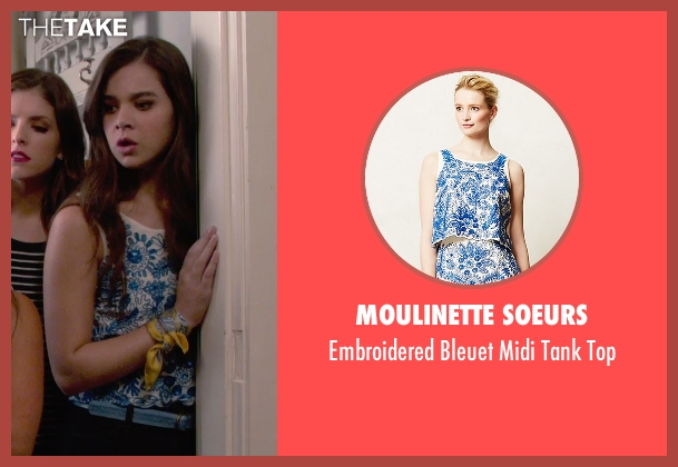 Moulinette Soeurs blue top from Pitch Perfect 2 seen with Hailee Steinfeld (Emily Hobbs)