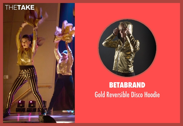 Betabrand gold hoodie from Pitch Perfect 2 seen with Hailee Steinfeld (Emily Hobbs)