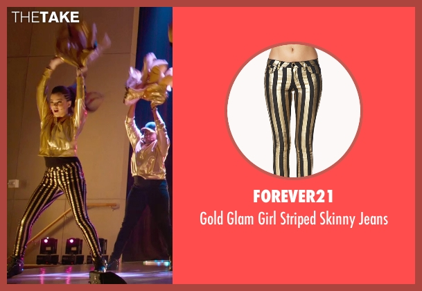 Forever21 gold jeans from Pitch Perfect 2 seen with Hailee Steinfeld (Emily Hobbs)