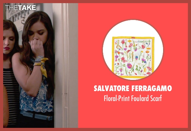 Salvatore Ferragamo yellow scarf from Pitch Perfect 2 seen with Hailee Steinfeld (Emily Hobbs)
