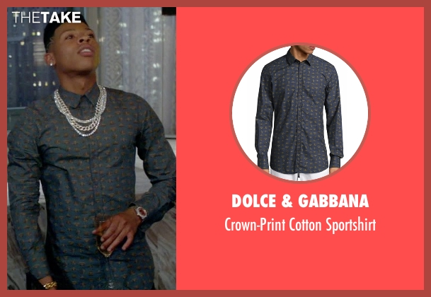 Dolce & Gabbana blue sportshirt from Empire seen with Hakeem Lyon (Bryshere Y. Gray)