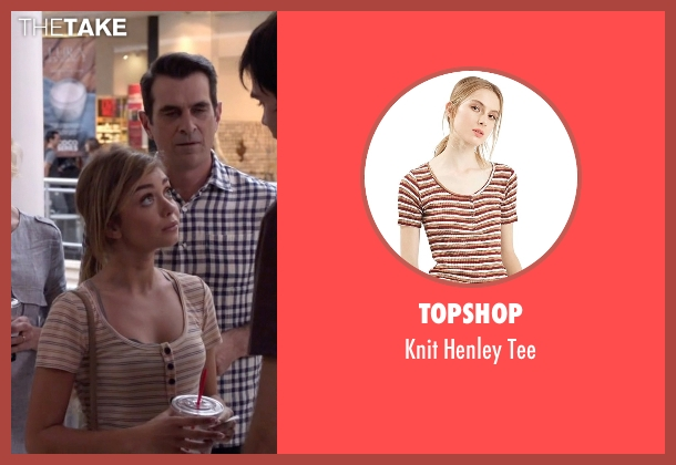 Topshop beige tee from Modern Family seen with Haley Dunphy (Sarah Hyland)