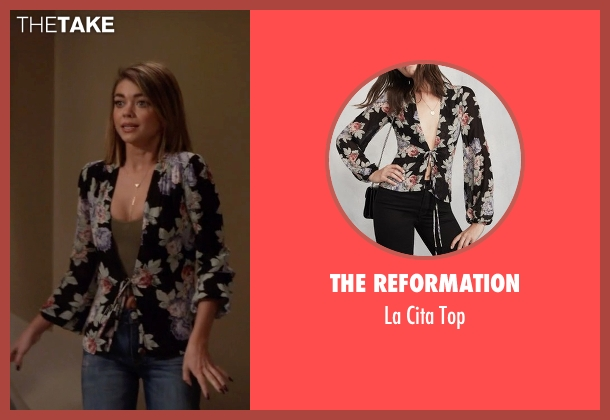 The Reformation black top from Modern Family seen with Haley Dunphy (Sarah Hyland)
