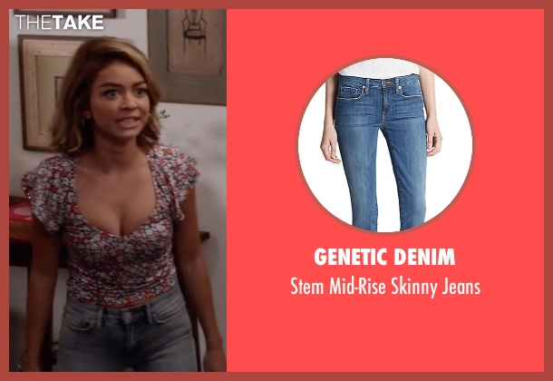 Genetic Denim blue jeans from Modern Family seen with Haley Dunphy (Sarah Hyland)