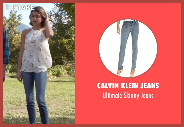 Calvin Klein Jeans blue jeans from Modern Family seen with Haley Dunphy (Sarah Hyland)