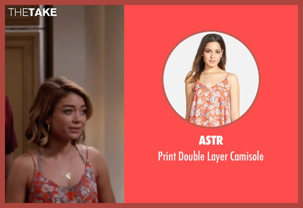 ASTR orange camisole from Modern Family seen with Haley Dunphy (Sarah Hyland)